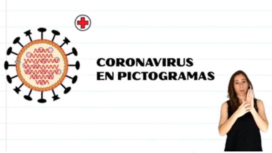 Título: Coronavirus en pictogramas. A la derecha imagen que representa al virus, abajo se ve a la intérprete de Lengua de Señas
