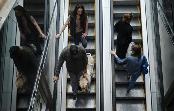 Personas en escalera mecánica. Una de ellas tiene un perro guía